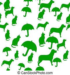 Raining Cats and Dogs - Seamlessly Repeatable Pattern of...