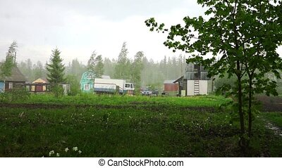 Raining day in holiday village near Petrozavodsk - View at...