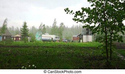 Raining day in holiday village near Petrozavodsk