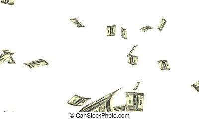Raining Dollars - Raining Dollar notes on a white...