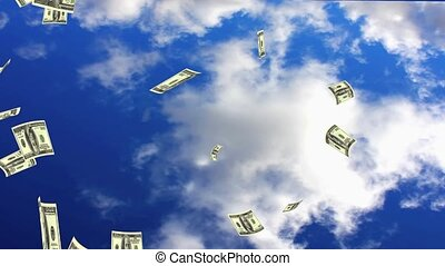 Raining Dollars - Raining Dollar notes from the sky.