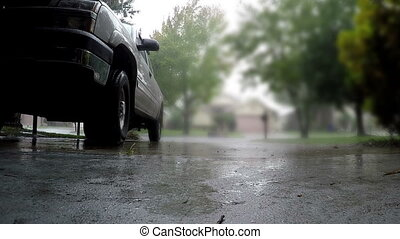 Raining driveway parked truck Florida