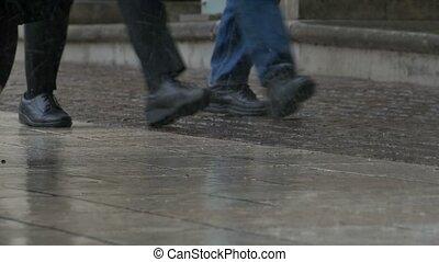 Raining Drops on Pavement