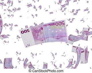 Raining Euros - 3D Illustration. Isolated on white. It`s...