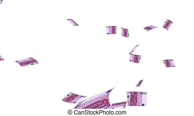 Raining Euros - Raining euro notes on a white background....