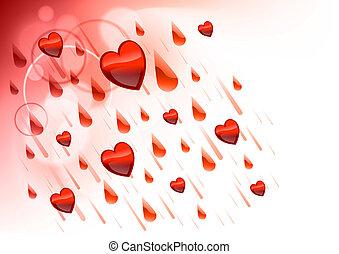 raining hearts on the light background