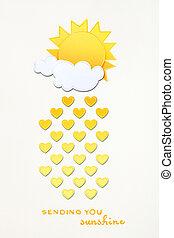 Raining hearts. - Creative valentines concept photo of sun...