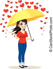 Raining Hearts Umbrella - Beautiful young woman with yellow...