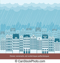 Raining in Cityscape background illustration for text