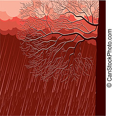 Raining nature landscape with tree in evening. Vector ...