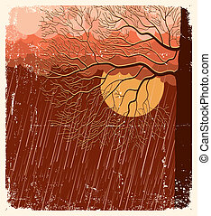 Raining nature landscape with tree in evening. Vector illustration background on old paper