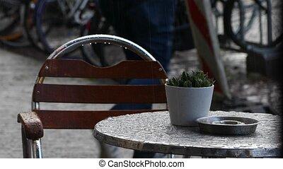 Raining on a table