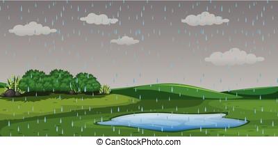 Raining outdor park scene illustration
