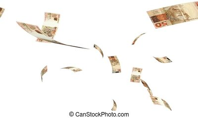 Raining Reales - Raining brazilian real notes on a white...