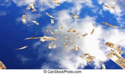 Raining Reales - Raining brazilian real notes from the sky....