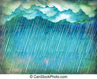 Raining sky. Vintage nature background with dark clouds on old paper