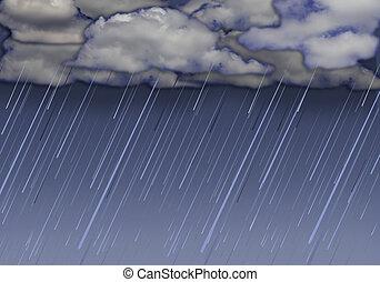 Raining sky with dark clouds - Rainy storm background with ...
