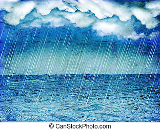 Raining storm in sea. Vintage nature background with dark ...