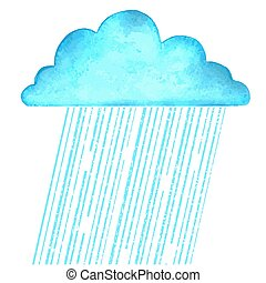 Raining.Vector image with blue rain cloud in wet day on white