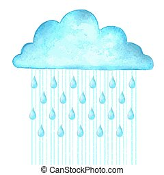 Raining.Vector image with blue rain cloud in wet day