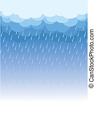 Raining.Vector image with dark clouds in wet day -...