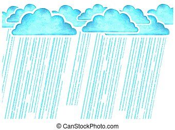 Raining.Vector watercolor image with blue rain clouds in wet day on white