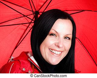 rainproof, mulher, guarda-chuva, outono, morena, segurando, sorrindo, roupas