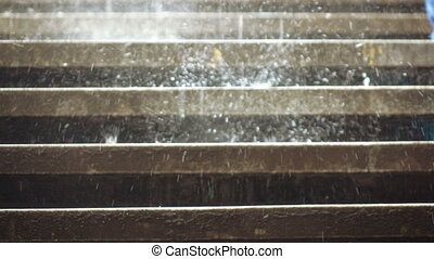 Rains on the steps