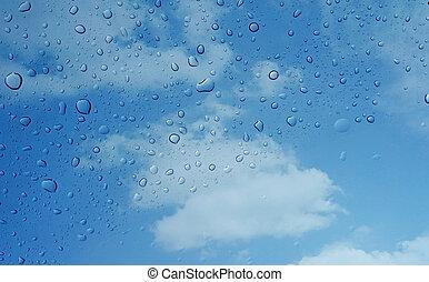 Exceptional Rainsdrops, Auf, A, Fenster, Mit, A, Blauer Himmel, Hintergrund