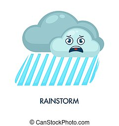 Rainstorm symbol with dark clouds and heavy rain - Rainstorm...