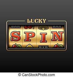 rainure, bannière, casino, chanceux, machine, filer