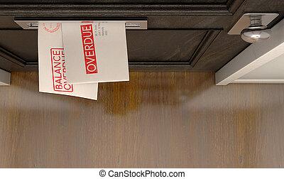 rainure, courrier, dette, enveloppe, pile