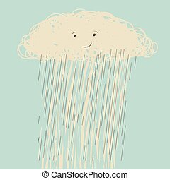 Rain.Vector hand drawn dark cloud face in wet day -...