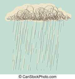 Rain.Vector hand drawn dark cloud in wet day - Rain.Vector...