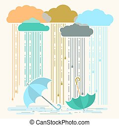 Rain.Vector illustration with stylish flat clouds and...