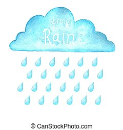 Rain.Vector image with blue rain cloud in wet day