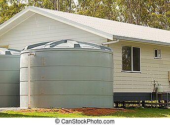 Rainwater conservation tanks on new house - Australian...