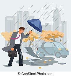 Rainy and windy day