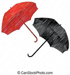 Rainy autumn background with umbrellas