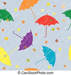 Rainy autumn background with umbrellas and leaves