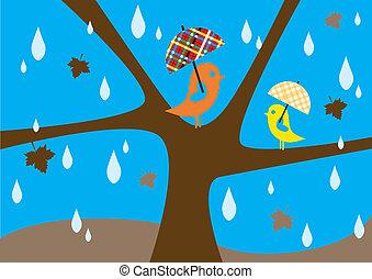 lovebirds in rain, lovebirds sitting on tree in autumn, vector