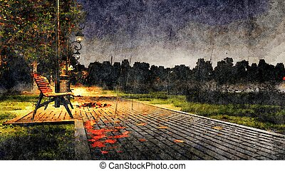 Rainy autumn night in park watercolor landscape