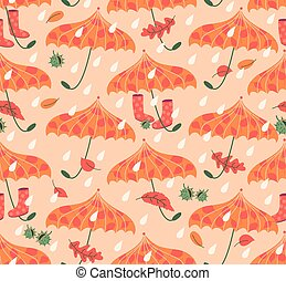 Rainy Autumn Seamless Pattern