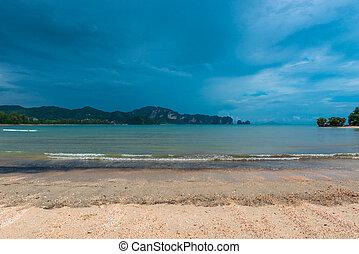 rainy blue dark clouds over the Andaman Sea Thailand