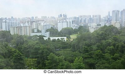 Rainy City View from Telok Blangah Hill Park, with Sound -...
