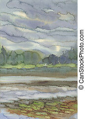 rainy clouds over the lake watercolor