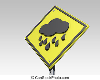 Rainy Day Ahead Yield Sign - A yield road sign with a rainy ...