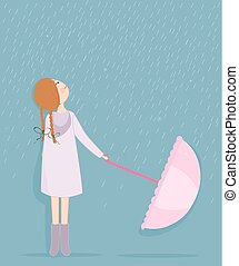 Rainy day, girl with umbrella vector background