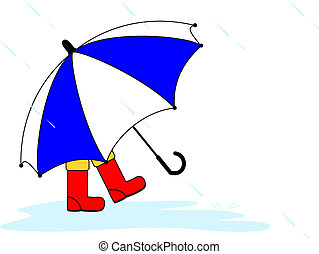 Rainy day - A small child wearing red wellington boots and...