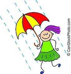 rainy day kid - little girl holding her umbrella in the rain...